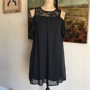 AS U WISH black lace top off the shoulder sleeve